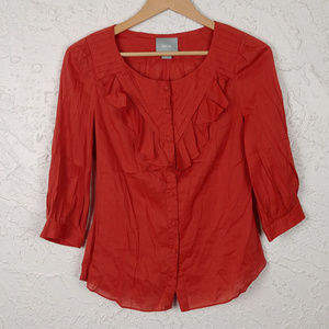 Maeve Ruffle Front Burnt Orange Blouse